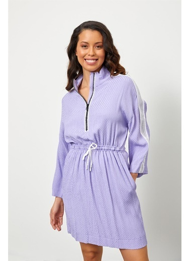 Setre Mint Rayon Fermuar Detaylı Beli Lastikli Elbise Lila